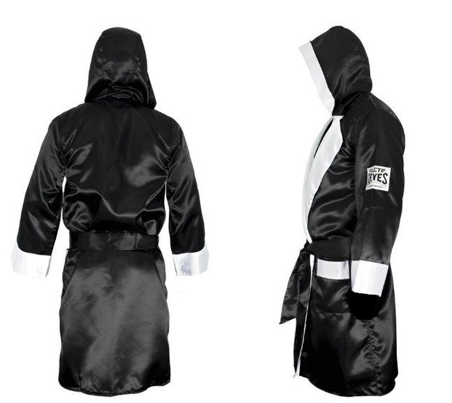 Cleto Reyes Satin Boxing Robe with Hood Large Black//White