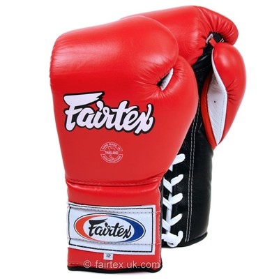 BGL7 Fairtex 12oz Red Mexican Lace-up Gloves