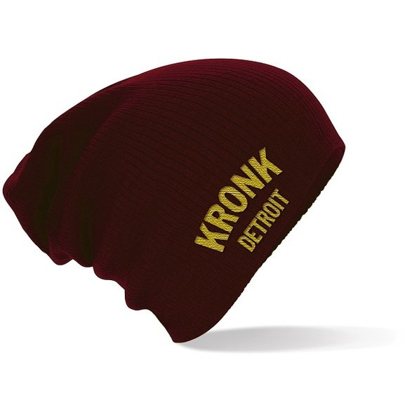 2954f316ef0 Kronk Detroit Embroidered  Slouch  Beanie Hat Burgundy