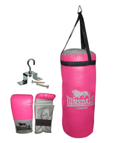 Lonsdale Jab Junior Punch Bag Set Pink/Grey/Black