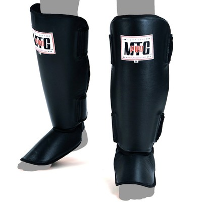 MTG-SF1 MTG Pro Black Leather Shin Pads | Fight Outlet