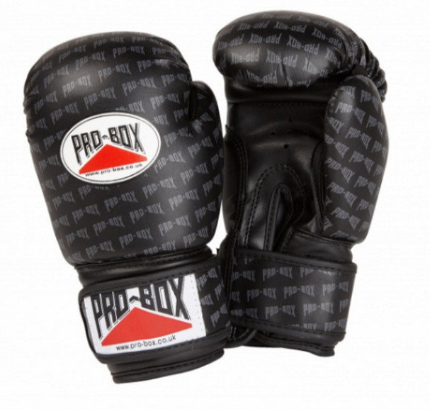PRO BOX 'BASE SPAR' JUNIOR PU SPARRING GLOVES BLACK LOGO