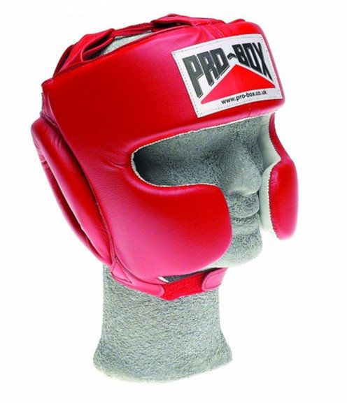PRO BOX 'SUPER SPAR' LEATHER SPARRING HEADGUARD - RED