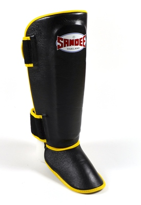 Sandee Authentic Boot Shin Guards Leather Black & Yellow