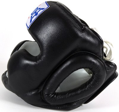 Sandee Kids Closed Face Head Guard - Synthetic Leather Black