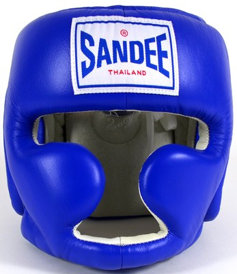 Sandee Kids Closed Face Head Guard- Synthetic Leather Blue