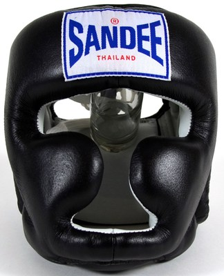 Buy the Sandee Closed Face Leather Head Guard - Black online at Fight Outlet