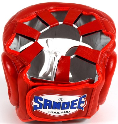 Sandee Closed Face Leather Head Guard Red