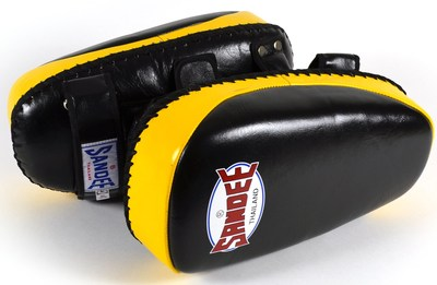 Sandee Curved Thai Kick Pads Leather- Black/Yellow