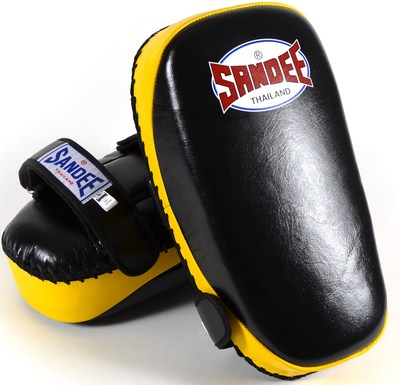 Buy the Sandee Curved Thai Kick Pads Leather- Black/Yellow online at Fight Outlet