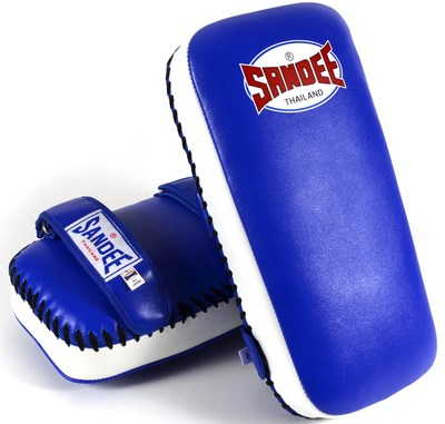 Sandee Extra Thick Thai Kick Pads Leather Blue/White