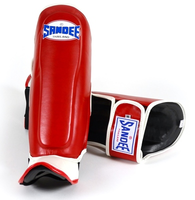 Sandee Kids Boot Shin Guards - Synthetic Leather- Red/White