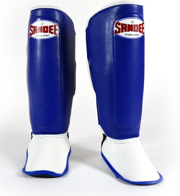 Sandee Kids Boot Shin Guards, Blue/White, Synthetic Leather.