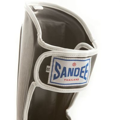 Sandee Kids Boot Shin Guards, Synthetic Leather - Black/White