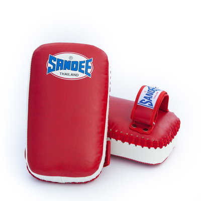 Buy the Sandee Kids Extra Thick Thai Kick Pads PU Red/White  online at Fight Outlet