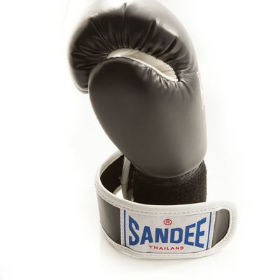 Sandee Kids Velcro 2 Tone Boxing Gloves Black/White Synthetic Leather