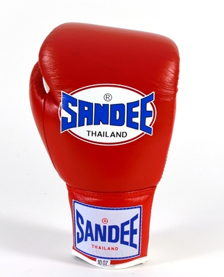Sandee Lace Up Pro Fight Boxing Gloves Leather- Red/White