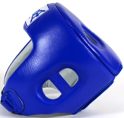 Sandee Open Face Head Guard Leather Blue/White