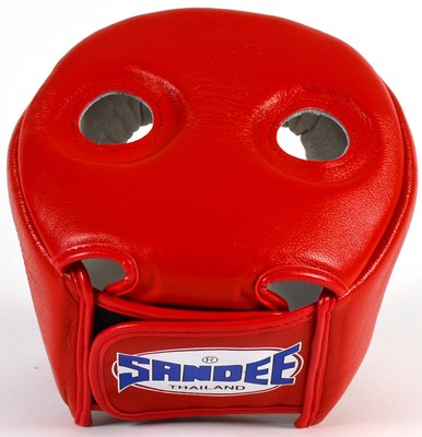 Sandee Open face Head Guard Leather Red/White