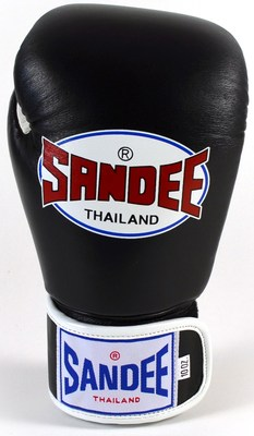 Sandee Velcro 2 Tone Boxing Gloves Leather - Black/White