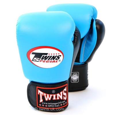 Buy the BGVL-3T Twins 2-Tone Sky Blue-Black Boxing Gloves online at Fight Outlet