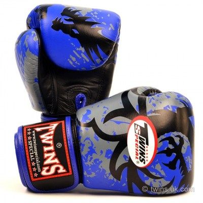 Buy the FBGV-36 Twins Blue Tribal Dragon Boxing Gloves online at Fight Outlet
