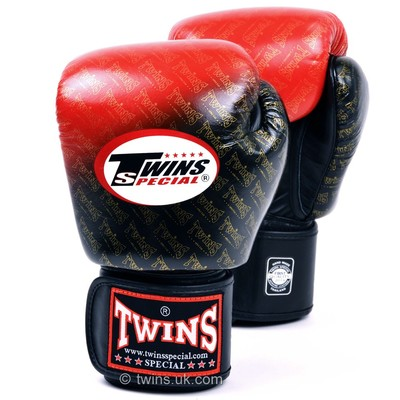 FBGV-TW1 Twins Black-Red Colour Fade Boxing Gloves