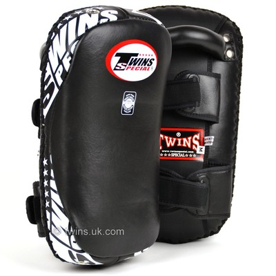 KPL-10 Twins Black Curved Leather Thai Kick Pads