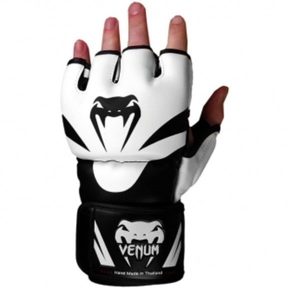 Buy the Venum Attack MMA Gloves White black  online at Fight Outlet