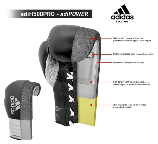 Adidas AdiPower Lace Boxing Gloves, White/Black