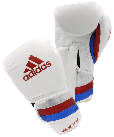 Adidas AdiSpeed Velcro Boxing Gloves, White/Red