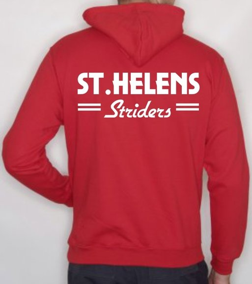 ST.HELENS Striders Adults HOODY with embroidered chest badge & Large Back Print.
