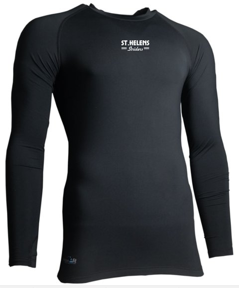 ST.HELENS Striders ESSENTIALS CREW NECK BASE LAYER JUNIOR and MENS, BLACK