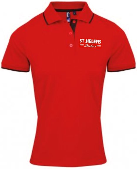 ST.HELENS Striders LADIES CONTRAST POLO SHIRT
