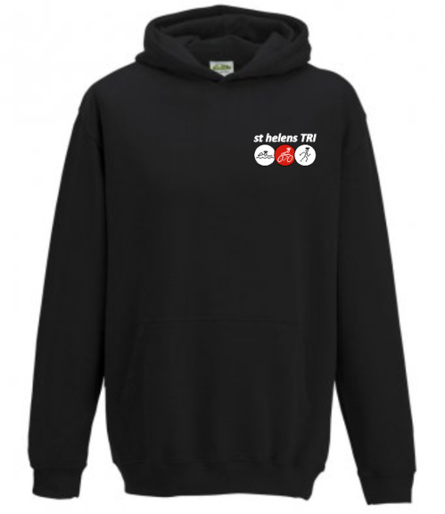 st helens TRI HOODY EMBROIDERED CHEST LOGO, LARGE 'st helens TRI' BACK PRINT. JUNIOR & MENS