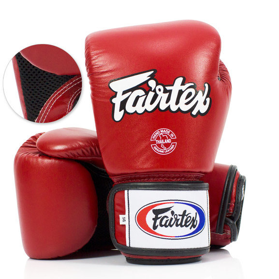 Buy the BGV1-B Fairtex Red Breathable Boxing Gloves online at Fight Outlet