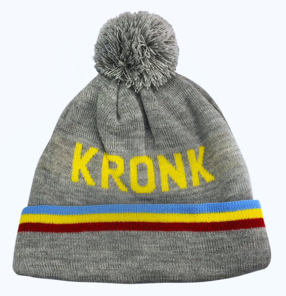 KRONK Detroit 3 stripe Bobble Hat Grey