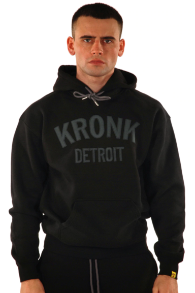 KRONK Detroit Applique Hoodie Regular Fit Black with Charcoal logo