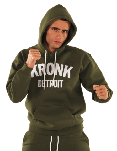 KRONK Detroit Applique Hoodie Regular Fit Military Green with White logo