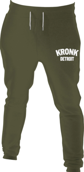 Kronk Detroit Joggers Regular Fit Military Green with White Applique logo