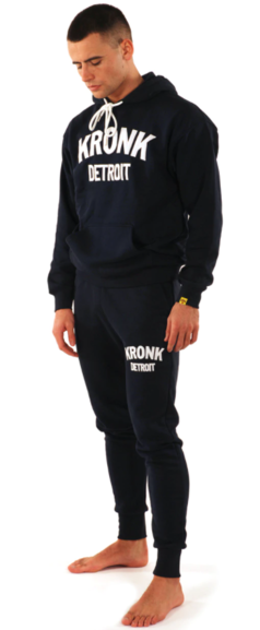 Kronk Detroit Joggers Regular Fit Navy with White Applique logo