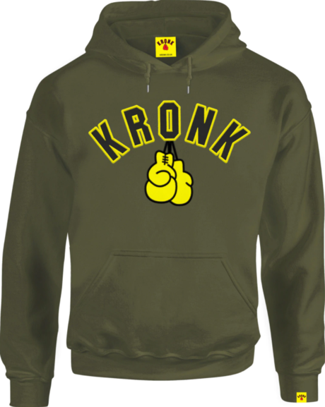 KRONK Gloves Applique Hoodie Regular Fit Military Green with Black & Yellow logo