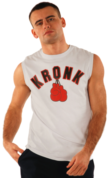Buy the KRONK Gloves Sleeveless T Shirt White/Black/Red online at Fight Outlet