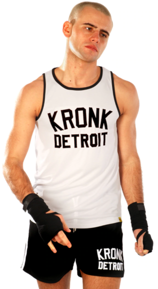 KRONK Iconic Detroit Applique Training Gym Vest White/Black