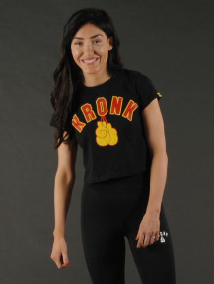 KRONKWOMEN Ladies Gloves Cropped T Shirt Black