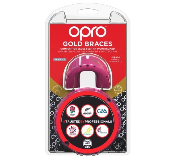 OPRO GOLD MOUTHGUARD FOR BRACES  PINK/PEARL