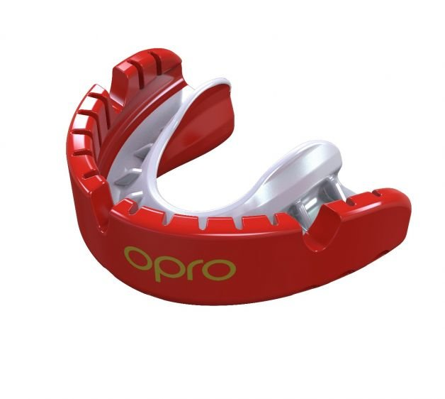 OPRO GOLD MOUTHGUARD FOR BRACES  RED/PEARL