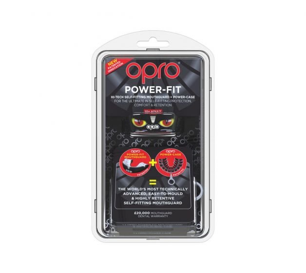 OPRO POWER-FIT EYES SELF-FIT MOUTHGUARD  BLACK/GOLD/RED
