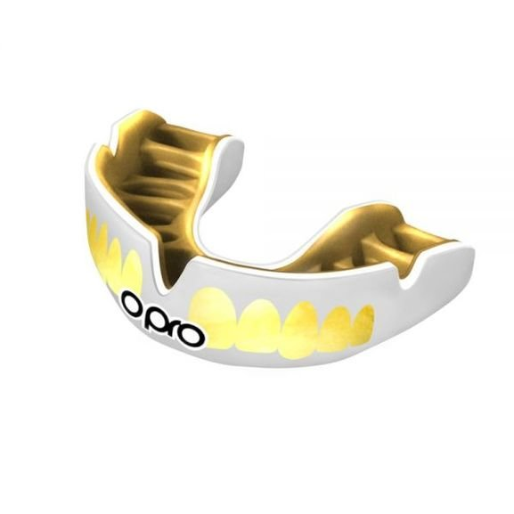 OPRO POWER-FIT TEETH SELF-FIT MOUTHGUARD  WHITE/GOLD