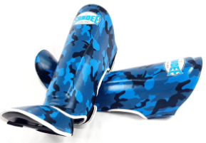 Sandee Authentic Kids Camo Blue/White Synthetic Leather Boot Shinguard